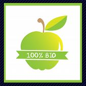 green apple icon, ecology and bio food concept