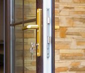 pic of key  - The fragment input glazed door with lock with handle and key.