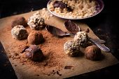 Assorted dark chocolate truffles