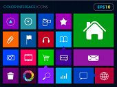 Modern colorful user interface vector layout in flat design with simple square windows