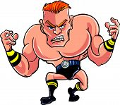 Cartoon wrestler ready to fight