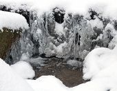 Frozen Water, Snow And Small Stream