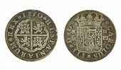 picture of 1700s  - 1770 spanish 2 real coin showing both sides isolated on white background - JPG