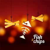 Fish And Chips On Red Blurred Background