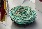 Coil Of Blue Nylon Rope On Deck