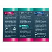 Brochure template with transparent banners on a dark background.