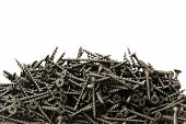 A lot of black drywall screws on white