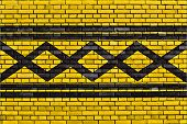 pic of west midlands  - flag of West Midlands painted on brick wall - JPG