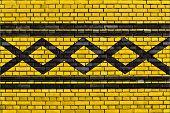 foto of west midlands  - flag of West Midlands painted on brick wall - JPG