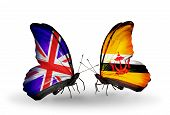 Two Butterflies With Flags On Wings As Symbol Of Relations Uk And Brunei