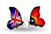 Two Butterflies With Flags On Wings As Symbol Of Relations Uk And East Timor