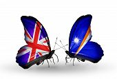Two Butterflies With Flags On Wings As Symbol Of Relations Uk And Marshall Islands