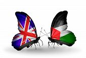 Two Butterflies With Flags On Wings As Symbol Of Relations Uk And Palestine