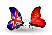Two Butterflies With Flags On Wings As Symbol Of Relations Uk And Soviet Union