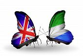 Two Butterflies With Flags On Wings As Symbol Of Relations Uk And Sierra Leone