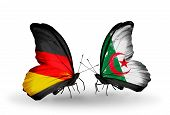Two Butterflies With Flags On Wings As Symbol Of Relations Germany And Algeria