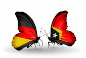 Two Butterflies With Flags On Wings As Symbol Of Relations Germany And East Timor