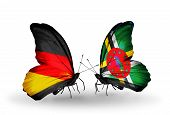 Two Butterflies With Flags On Wings As Symbol Of Relations Germany And Dominica
