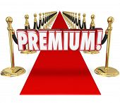 Premium word in 3d letters on a red carpet to illustrate exclusive top tier treatment for a customer at the highest paying level for your company's product or service