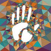 polygonal color hand print