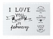 Valentine's day typography design elements