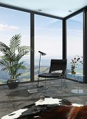 3D Rendering of Chair in th corner of a sunroom with panoramic view through large floor-to-ceiling windows with a potted palm and animal skin on the tiled floor