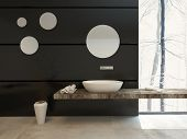 image of over counter  - Modern bathroom decor on a black wall with a wall - JPG