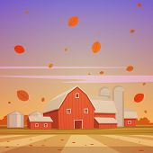stock photo of farm landscape  - Cartoon illustration of the red barn farm - JPG