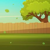 stock photo of wooden fence  - Cartoon illustration of the wooden fence with tree - JPG