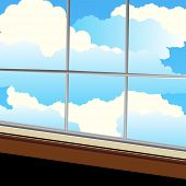 Out the window clouds windowsill