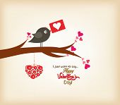 happy valentines day greeting card with bird