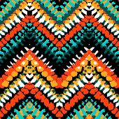 stock photo of zigzag  - Striped hand painted vector seamless pattern with ethnic and tribal motifs - JPG