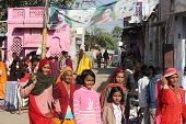 Indian People Walking In Pushkar