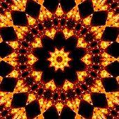 Pattern Of Closeup Fiery Campfire By Night