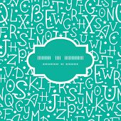 Vector white on green alphabet letters frame seamless pattern background
