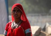 Indian Woman red dressed