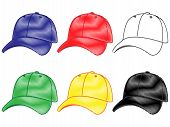Baseball Caps In Different ColoursPencil Style 2