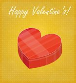 Happy Valentine's Card With Heart Shaped Box Golden Background
