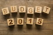 Budget for 2015, wooden blocks on a wooden background