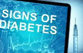 the words signs of diabetes on a tablet