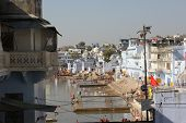 View Of Pushkar Lake Through Buildings
