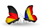 Two Butterflies With Flags On Wings As Symbol Of Relations Germany And Chad, Romania