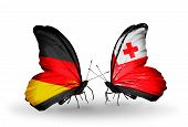 Two Butterflies With Flags On Wings As Symbol Of Relations Germany And Tonga