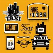 Set of vector retro design element for taxi