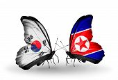 Two Butterflies With Flags On Wings As Symbol Of Relations South Korea And North Korea