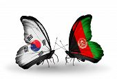 Two Butterflies With Flags On Wings As Symbol Of Relations South Korea And Afghanistan