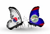 Two Butterflies With Flags On Wings As Symbol Of Relations South Korea And Belize