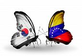 Two Butterflies With Flags On Wings As Symbol Of Relations South Korea And Venezuela