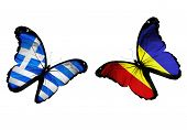 Concept - Two Butterflies With Greek And Romanian Flags Flying