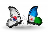 Two Butterflies With Flags On Wings As Symbol Of Relations South Korea And Djibouti